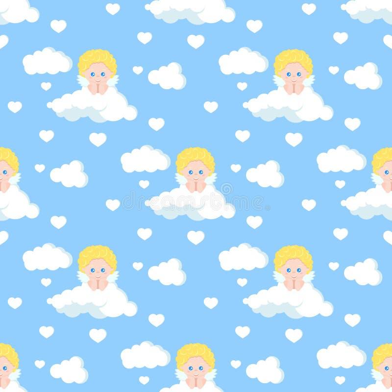 Картина вектора романтичная безшовная с милым купидоном мечтая на белом облаке иллюстрация штока