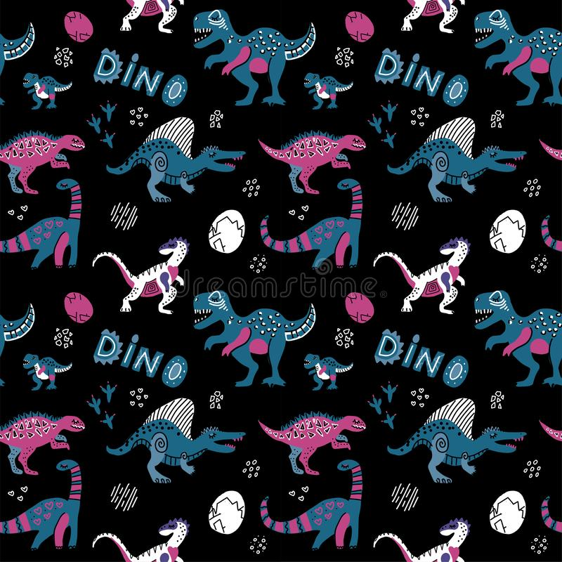 Картина вектора руки вычерченная безшовная с милыми динозаврами, яйцами и линейным оформлением Повторяющийся обои на черной предп иллюстрация вектора