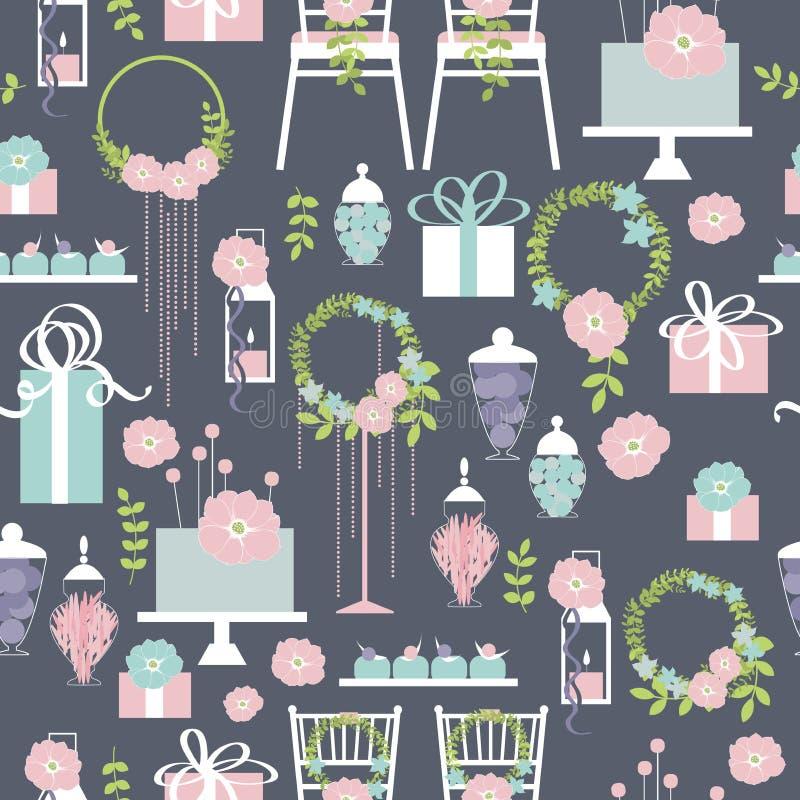 Картина вектора свадьбы безшовная с тортом и цветками бесплатная иллюстрация