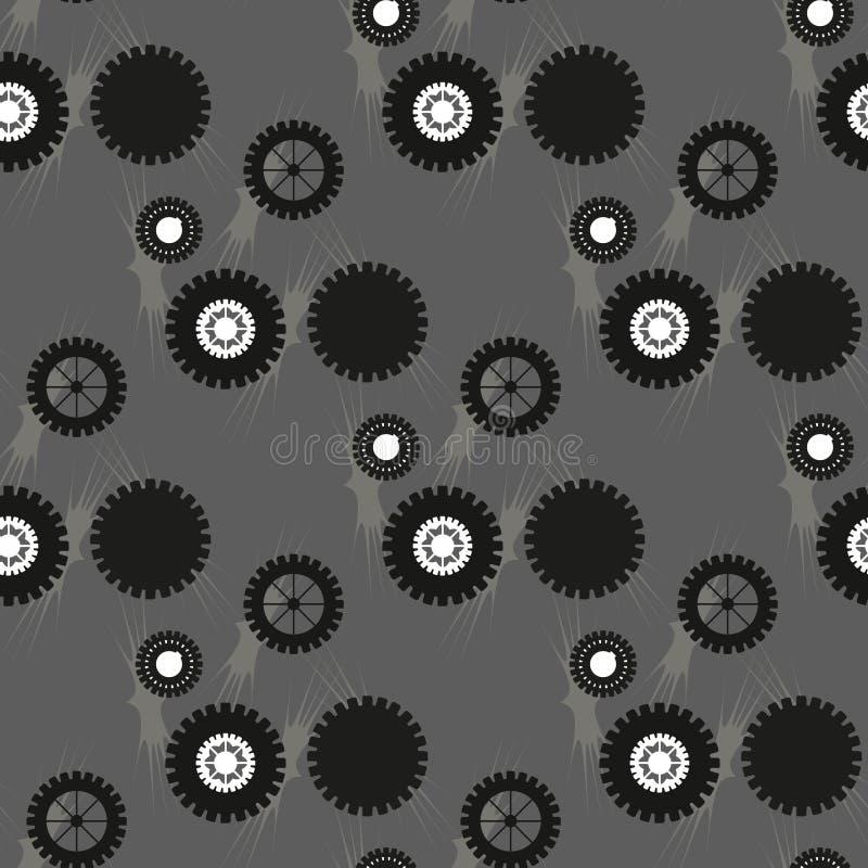 Картина вектора сделанная из cogs Безшовная кроя черепицей предпосылка Абстрактная концепция дела Орнамент с шестернями и колесам иллюстрация вектора
