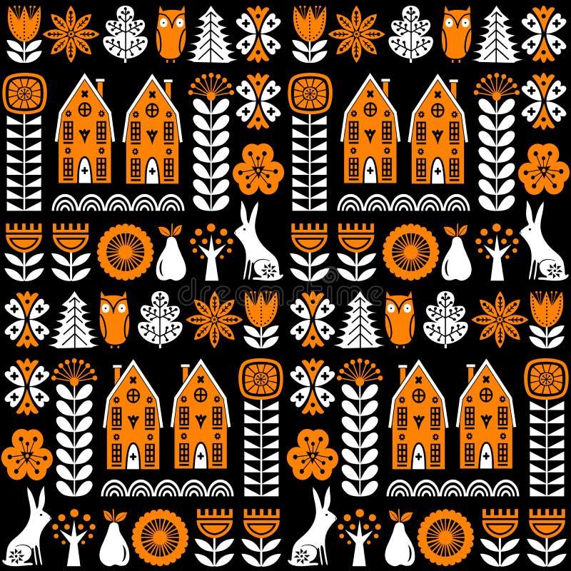 Картина вектора скандинавского народного искусства безшовная с цветками, деревьями, кроликом, сычом, домами и сельским пейзажем в иллюстрация штока