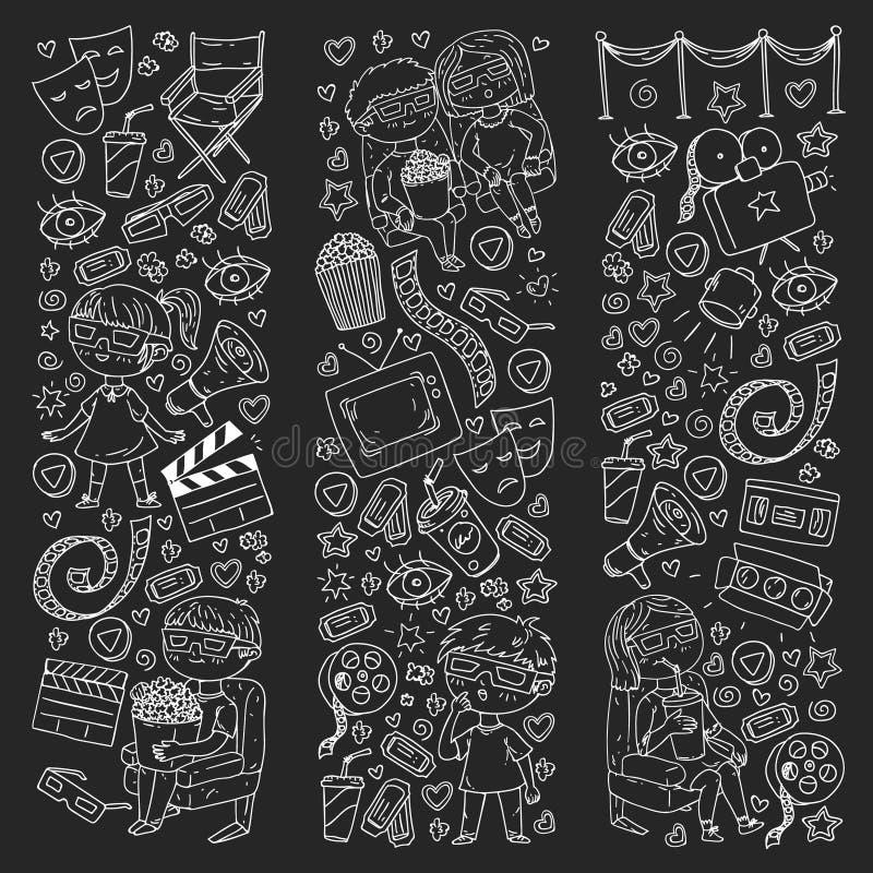 Картина вектора со значками кино кинотеатра, ТВ, попкорна, видеоклипа бесплатная иллюстрация