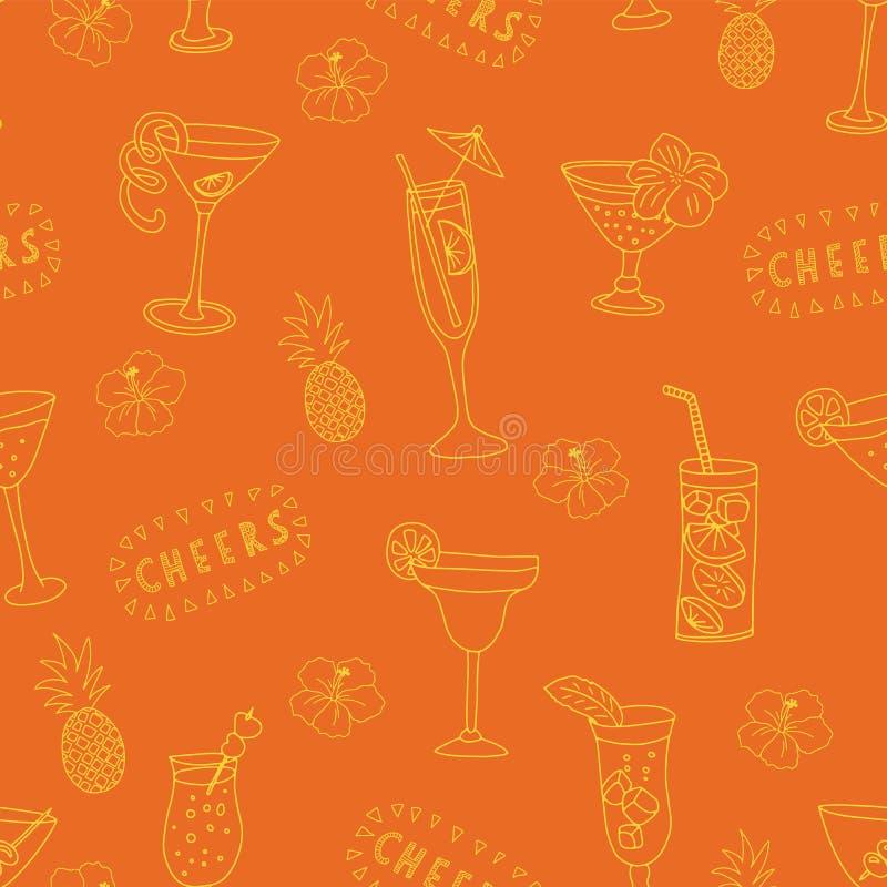 Картина вектора стекел коктеиля безшовная Желтые выпивая стекла на оранжевой предпосылке с помечать буквами, ананасами приветстве бесплатная иллюстрация