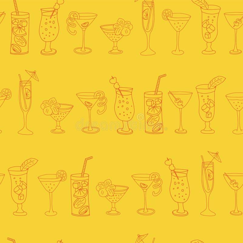 Картина вектора стекел коктеиля безшовная Оранжевые выпивая стекла в ряд на желтой предпосылке Большой для предпосылок, иллюстрация штока