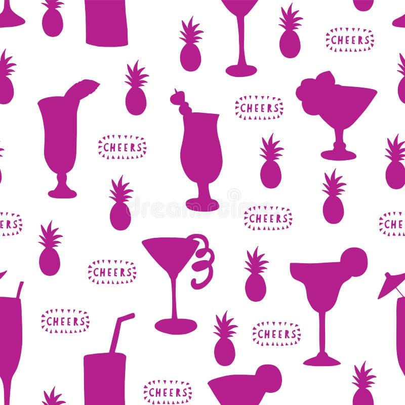 Картина вектора стекел коктеиля безшовная Пурпурные выпивая стекла на белой предпосылке с помечать буквами, ананасом приветственн иллюстрация штока