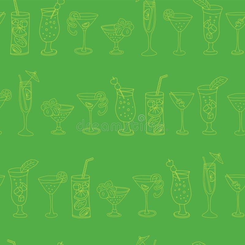 Картина вектора стекел коктеиля безшовная Стекла известки выпивая в ряд на зеленой предпосылке с приветственными восклицаниями по иллюстрация вектора