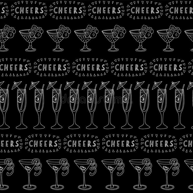 Картина вектора стекел коктейля безшовная Белые выпивая стекла в ряд на черной предпосылке с помечать буквами приветственных воск бесплатная иллюстрация