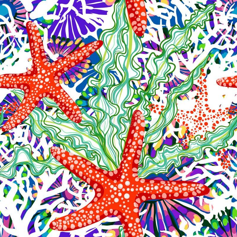 Картина вектора с морем под водой флористической иллюстрация штока