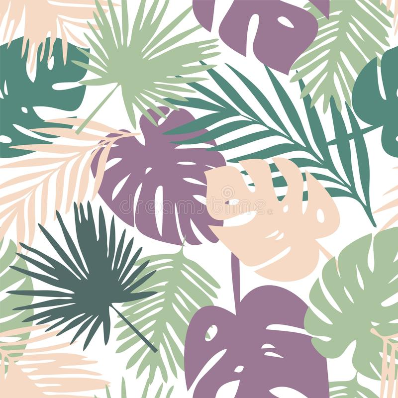 Картина вектора с тропическими листьями иллюстрация штока