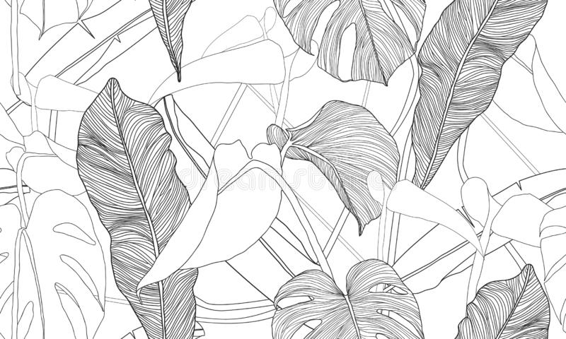 Картина вектора тропическая безшовная Экзотические заводы изолированные на белой предпосылке Нарисованная рукой печать ткани иллюстрация вектора