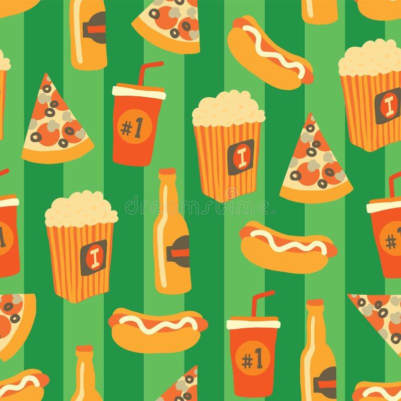 Картина вектора фаст-фуда безшовная Легкая закуска и предпосылка напитков с пиццей притяжки руки, хот-догом, попкорном, пивом, ча иллюстрация вектора