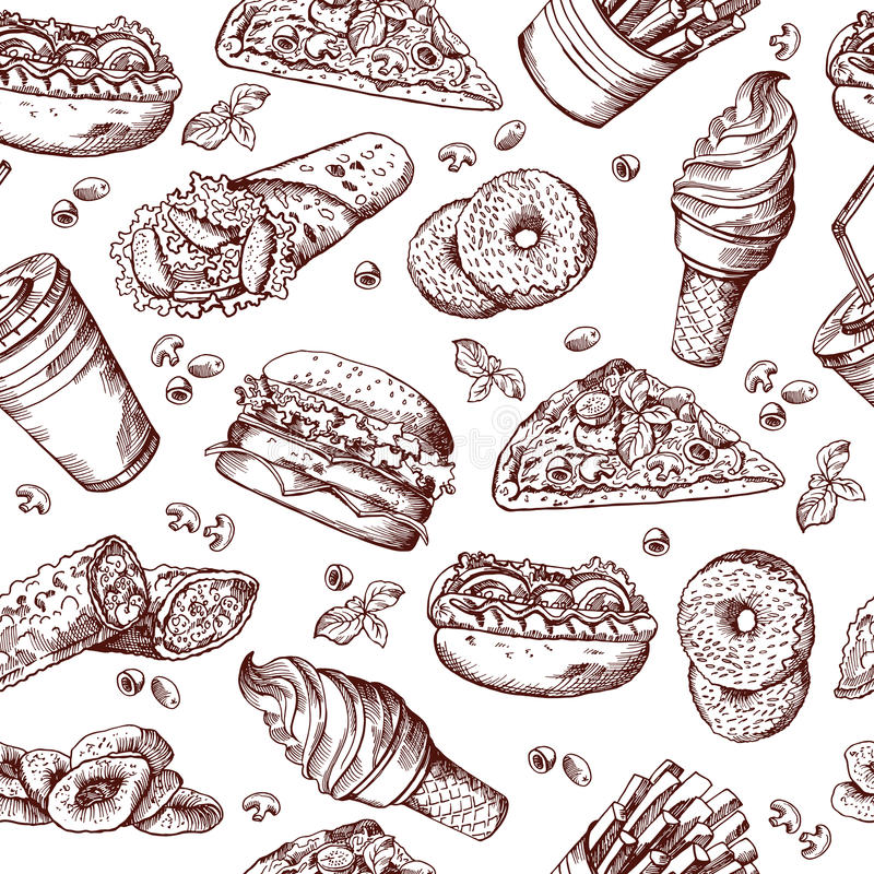 Картина вектора фаст-фуда безшовная Вручите вычерченную иллюстрацию фраев колы и француза сандвича гамбургера бесплатная иллюстрация