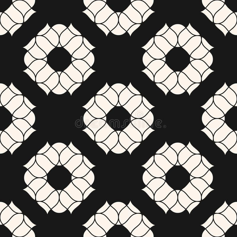 Картина вектора флористическая безшовная Абстрактная черно-белая текстура с пионами иллюстрация штока