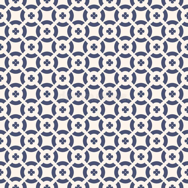 Картина вектора флористическая безшовная Геометрический орнамент в цветах сини военно-морского флота и белых иллюстрация вектора
