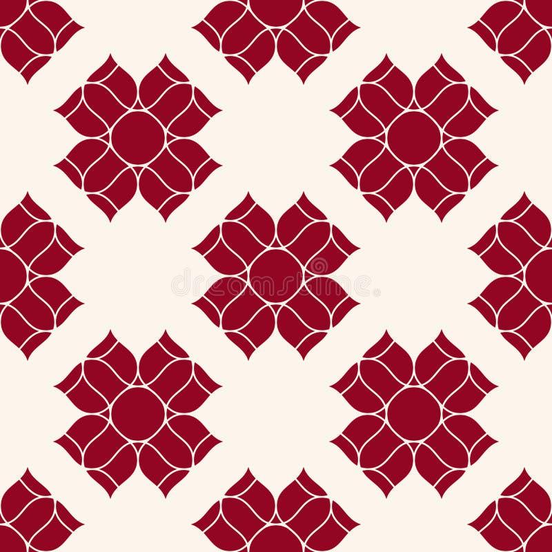Картина вектора флористическая геометрическая безшовная Темный - красная и белая предпосылка орнамента иллюстрация вектора