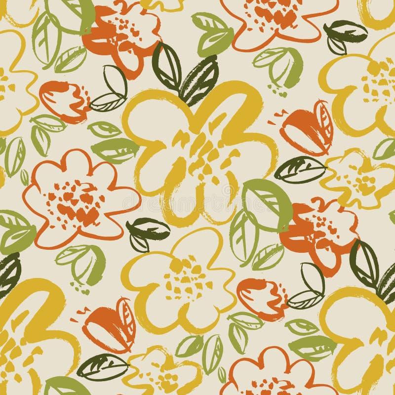 Картина вектора флористического цвета безшовная иллюстрация штока