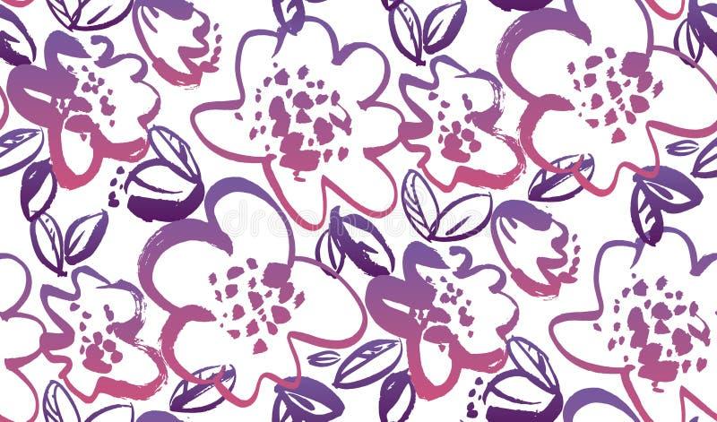 Картина вектора флористического цвета руки вычерченного безшовная бесплатная иллюстрация