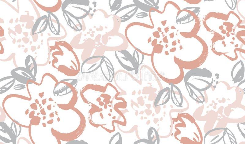 Картина вектора флористической руки цветения вычерченная безшовная иллюстрация штока