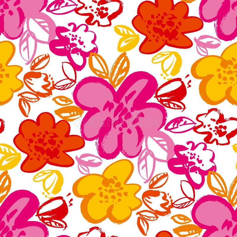 Картина вектора флористической руки цветения вычерченная безшовная иллюстрация вектора