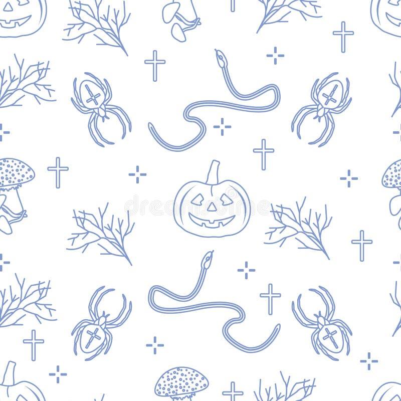 Картина вектора хеллоуина 2019 безшовная с тыквами, ветвями, пауками, змейками, крестами Дизайн для украшения, создавая программу иллюстрация штока