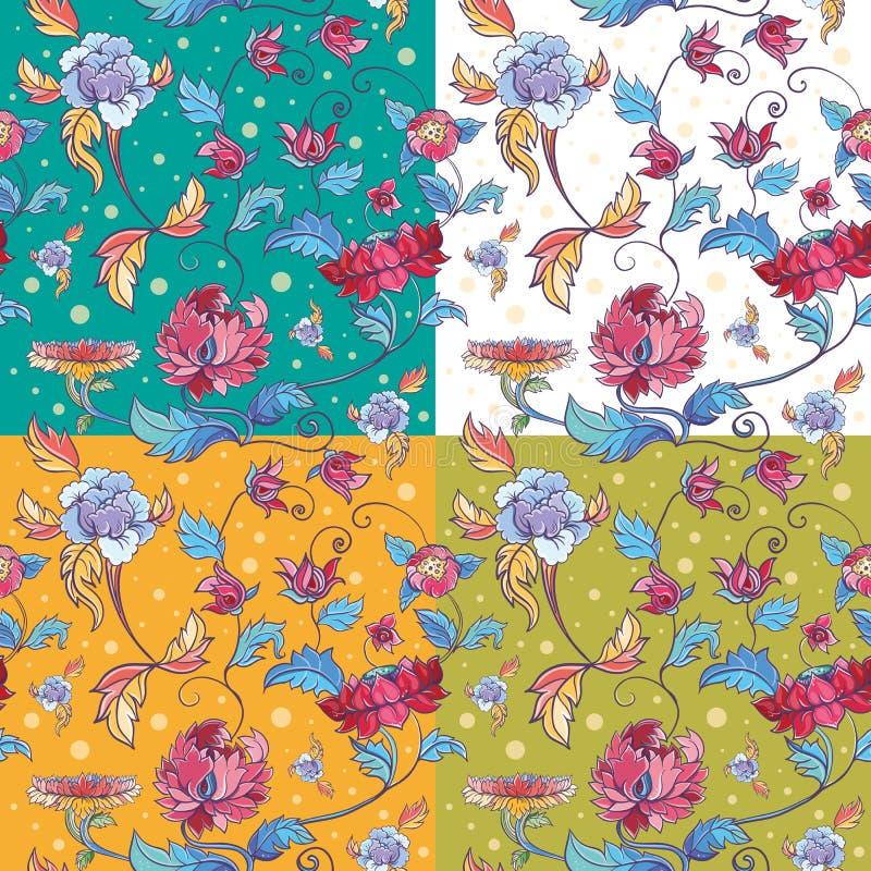 Картина вектора цветков с лотосами и пионами иллюстрация вектора