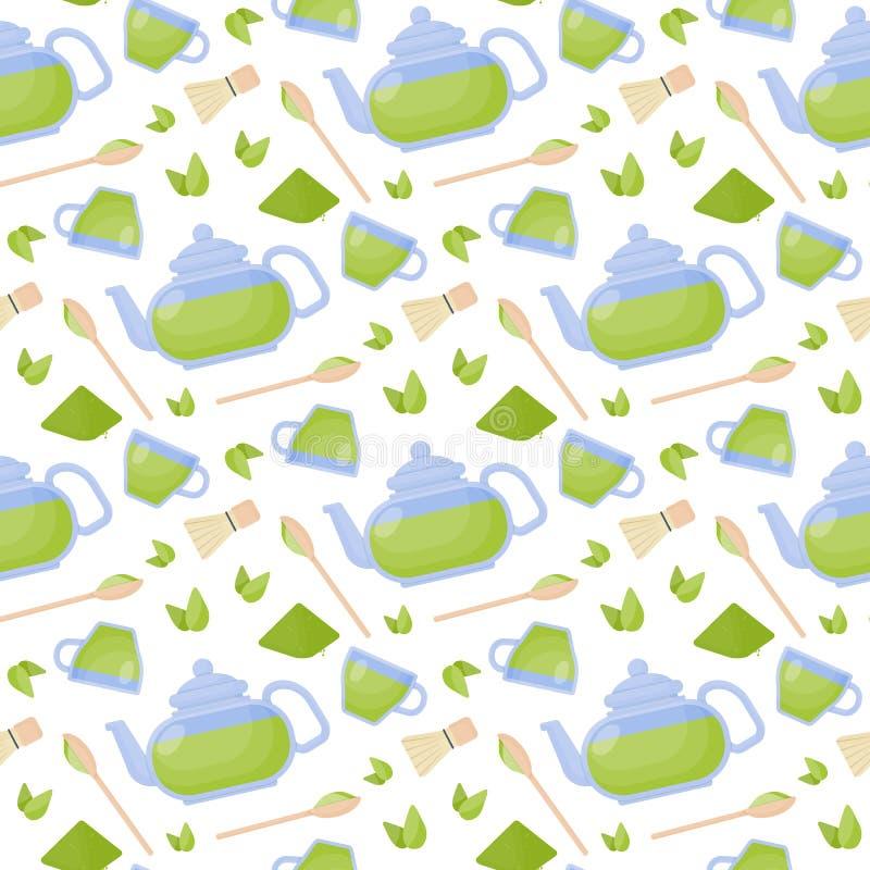Картина вектора чая Matcha плоская безшовная бесплатная иллюстрация