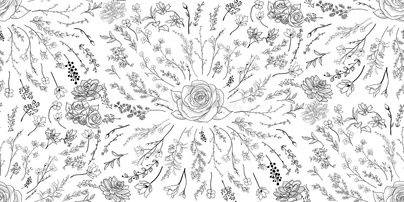 Картина вектора черная безшовная с вычерченными цветками, ветвями, заводами бесплатная иллюстрация