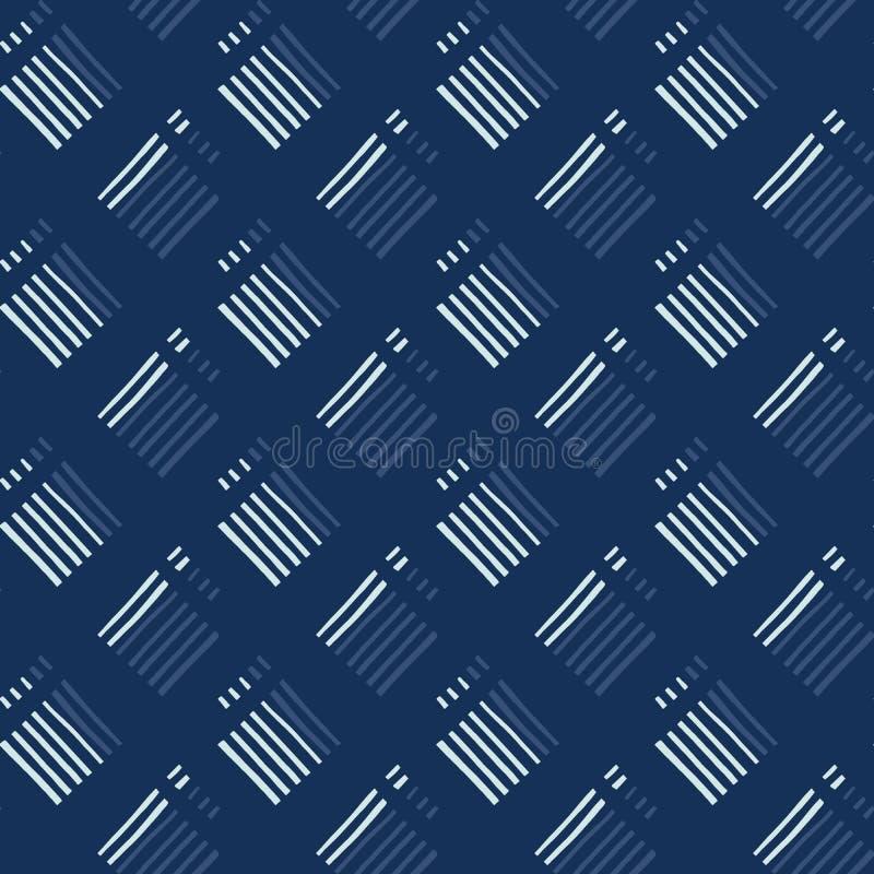 Картина вектора японского стиля квадратного мотива Striped безшовная вычерченная рука иллюстрация вектора