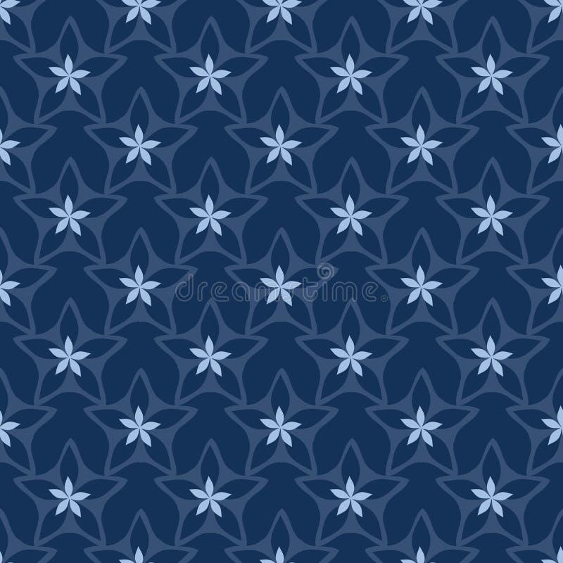 Картина вектора японского стиля мотива цветка звезды Ditsy безшовная Синь индиго руки вычерченная флористическая бесплатная иллюстрация