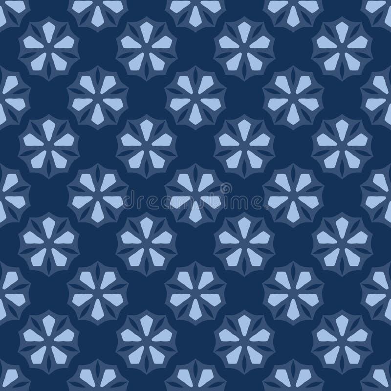 картина вектора японского стиля мотива цветка 5 лепестков безшовная Индиго руки вычерченное бесплатная иллюстрация