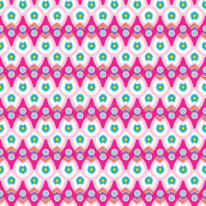 Картина вектора яркой нашивки падения тюльпана geo лета безшовная Стилизованное геометрическое флористическое на всем печать Женс бесплатная иллюстрация