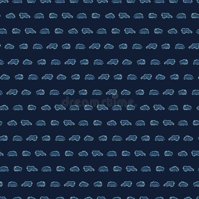 Картина вектора BlueSeamless индиго нашивок руки вычерченная Dotty Grunge иллюстрация вектора