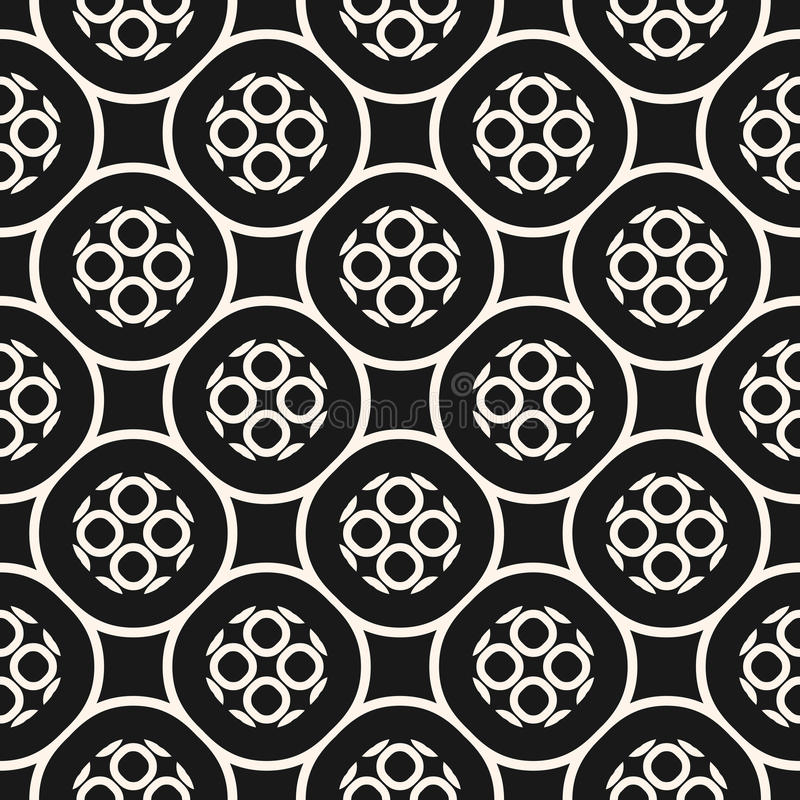 Картина вектора monochrome безшовная с геометрическими кругами иллюстрация штока