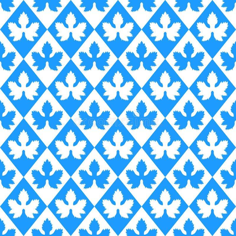Картина вектора Oktoberfest безшовная Листья хмеля силуэта, текстура косоугольника безшовная Немецкая голубая и белая геометричес иллюстрация вектора