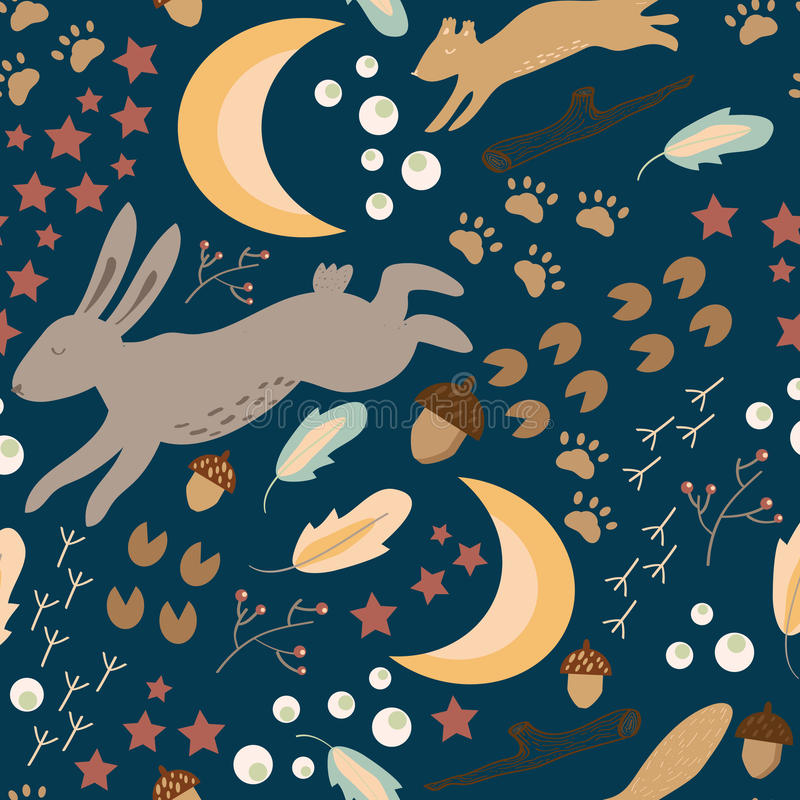 Картина вектора Seamles леса ночи весны бесплатная иллюстрация