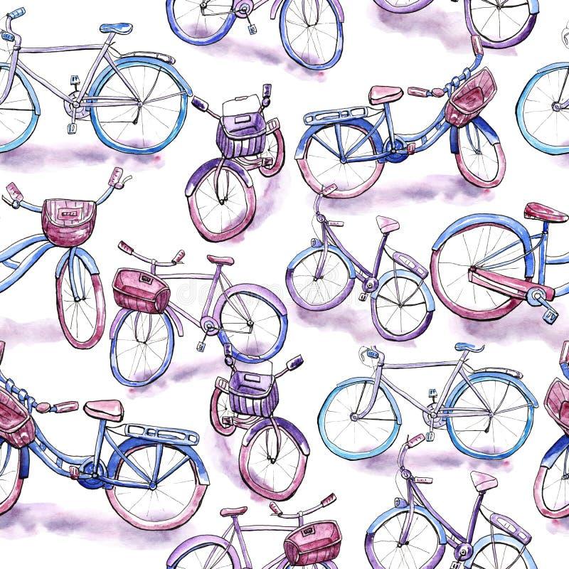 Картина велосипеда безшовная стоковая фотография