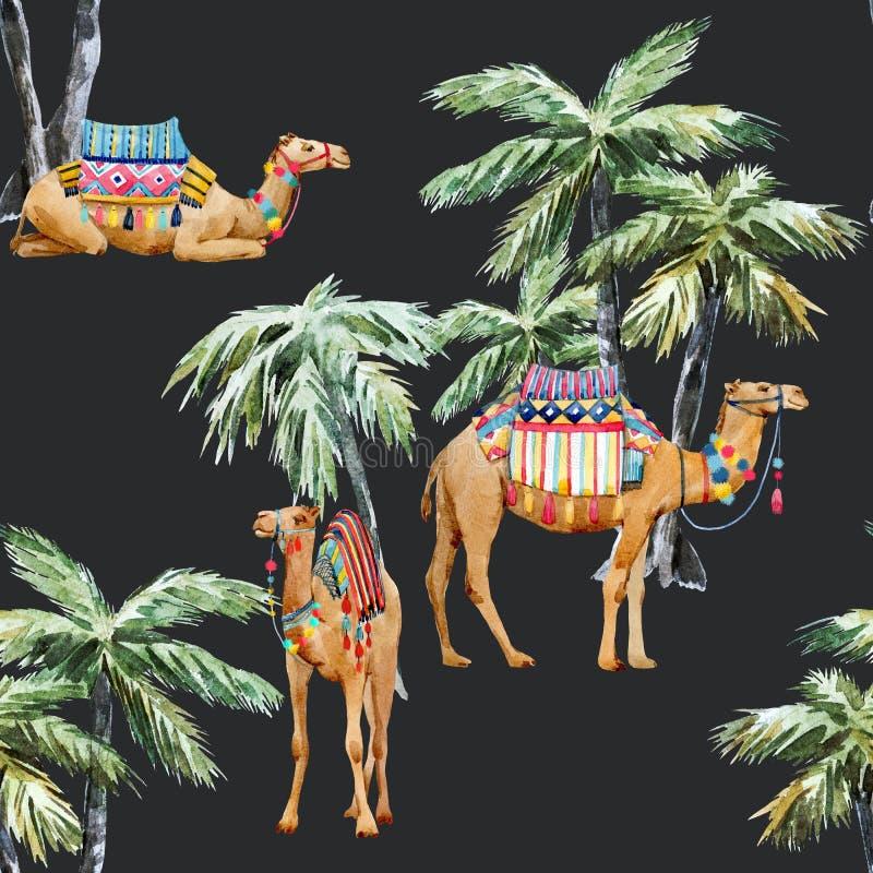 Картина верблюда и ладони акварели бесплатная иллюстрация