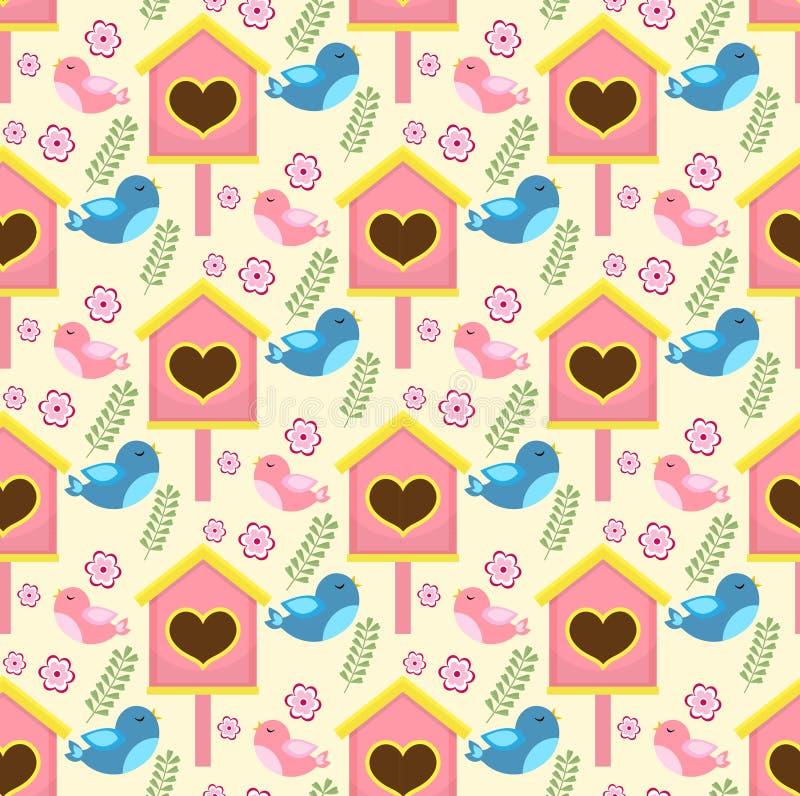 Картина весны безшовная с птицами и домом starling Предпосылка Birdhouse бесконечная бесплатная иллюстрация