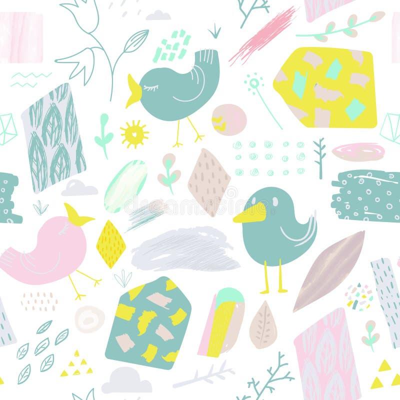 Картина весны безшовная с птицами и цветками Ребяческая абстрактная предпосылка природы для ткани, украшения, обоев иллюстрация штока
