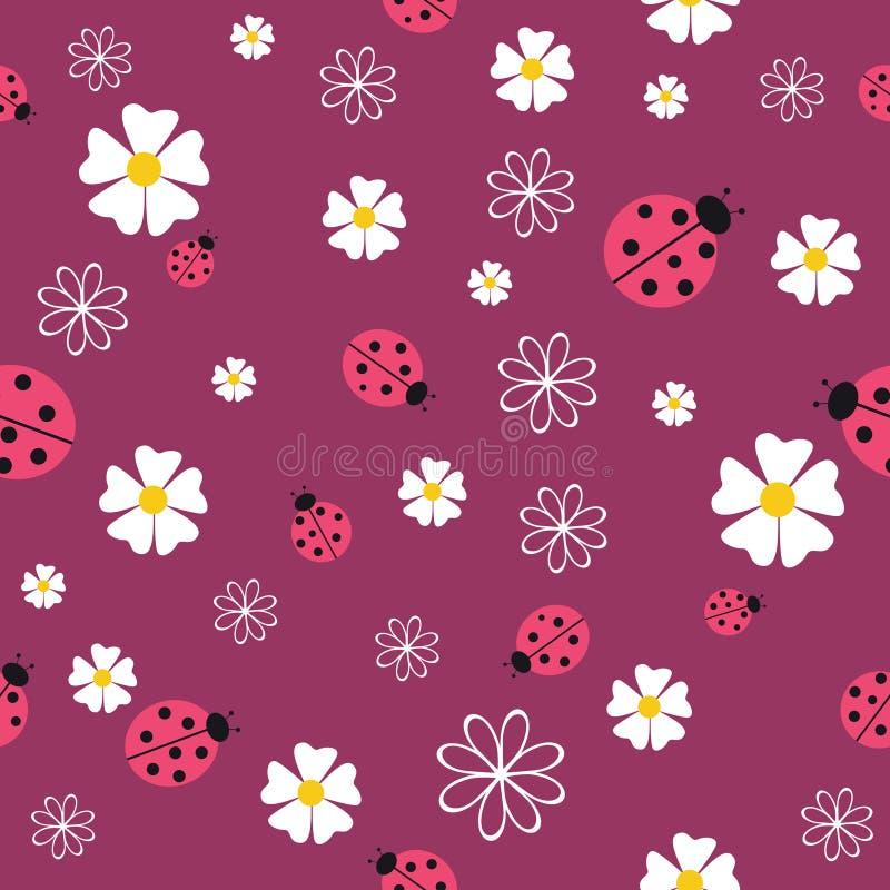 Картина весны безшовная с цветками и ladybirds иллюстрация штока