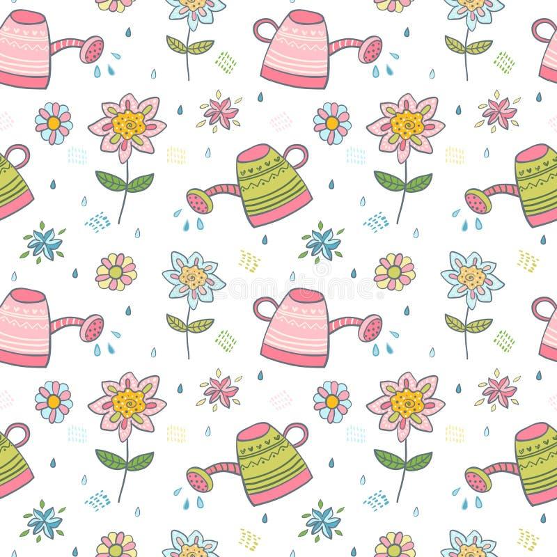 Картина весны с цветками и лейками бесплатная иллюстрация