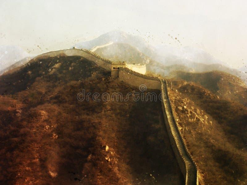 Картина Великой Китайской Стены Китая, стиль цифров акварели стоковое фото