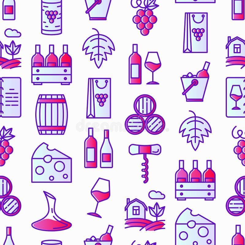 Картина вина безшовная с тонкой линией значками: штопор, бокал, пробочка, виноградины, бочонок, список, графинчик, сыр, виноградн иллюстрация вектора