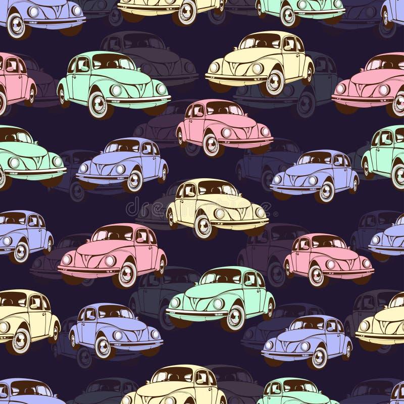 Картина винтажного автомобиля безшовная, ретро предпосылка шаржа Пестротканые автомобили на беже Для дизайна обоев, оболочка, ска иллюстрация вектора