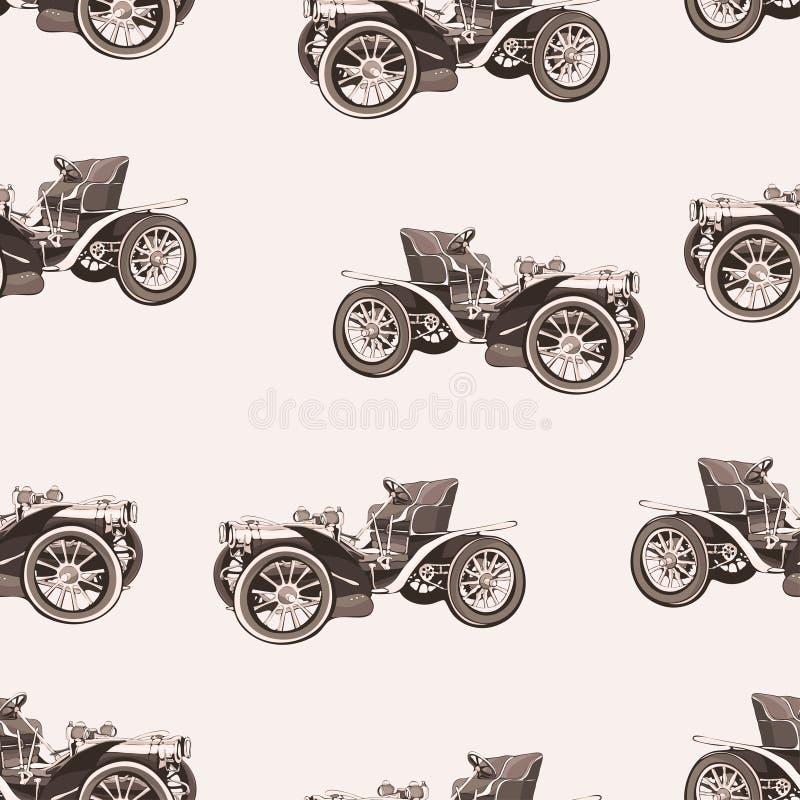 Картина винтажного автомобиля безшовная, старая ретро машина чертежа, предпосылка вектора шаржа, monochrome Иллюстрация в sepia с бесплатная иллюстрация