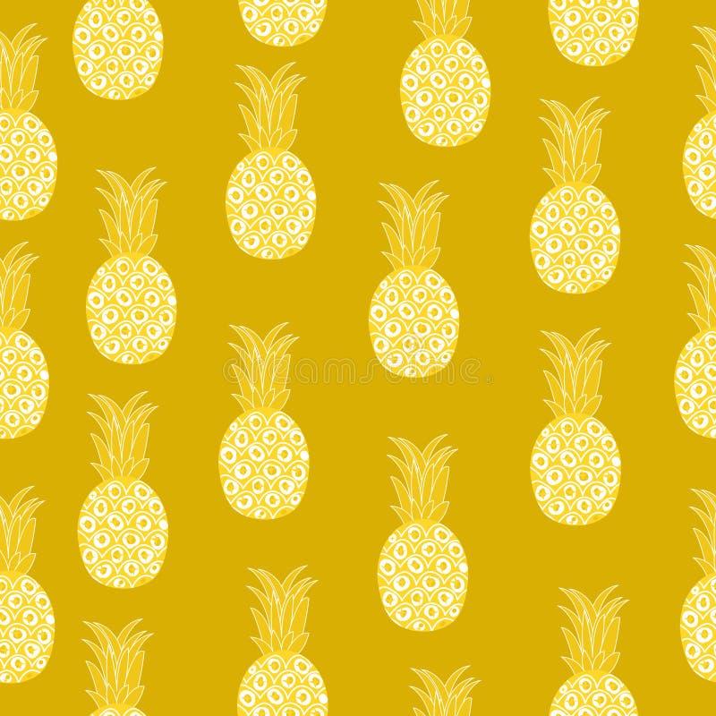 Картина винтажного ананаса безшовная, ретро стиль Предпосылка плодоовощ лета бесконечная также вектор иллюстрации притяжки corel иллюстрация штока