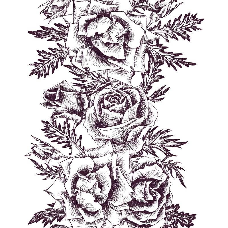 Картина винтажного вектора флористическая безшовная иллюстрация штока