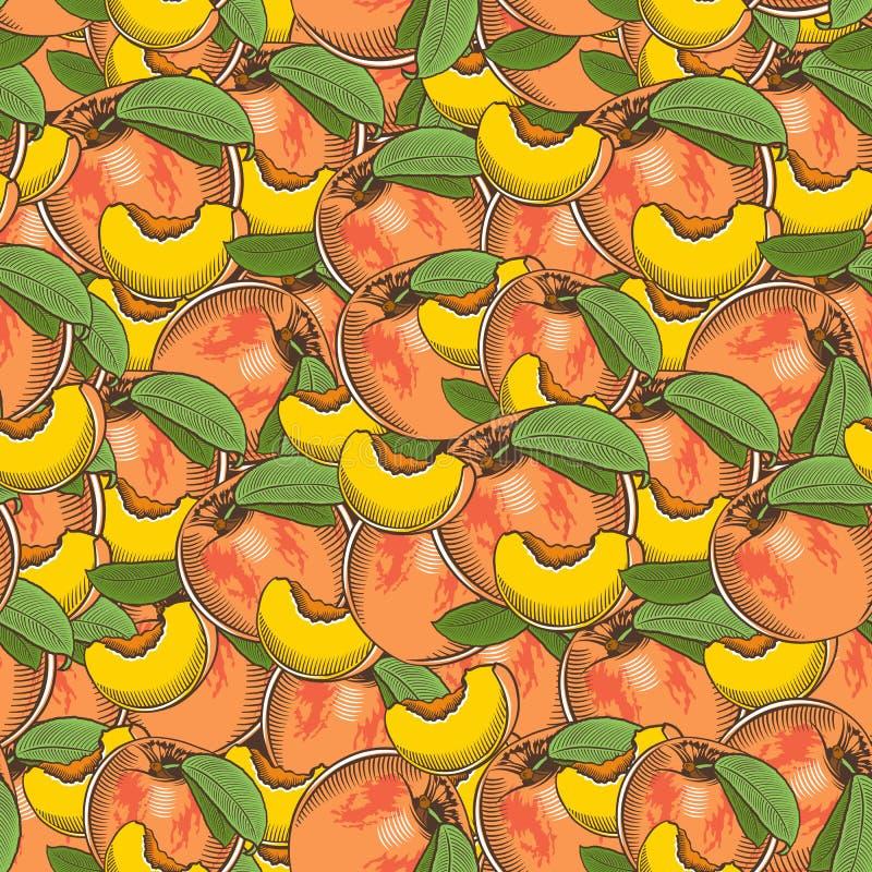 Картина винтажного персика безшовная бесплатная иллюстрация