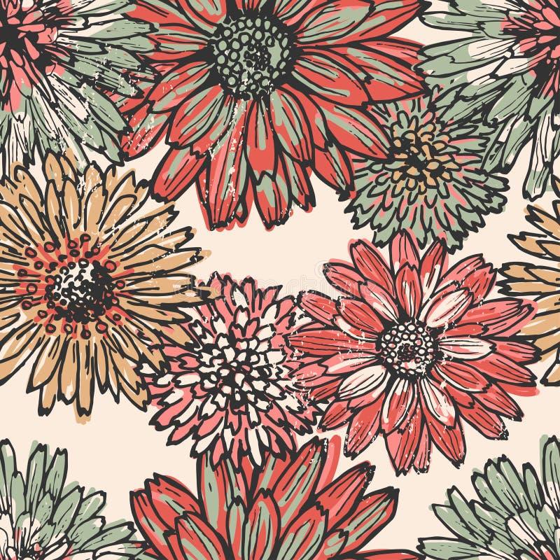Картина винтажного сада безшовная иллюстрация вектора