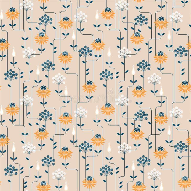 Картина винтажного цветка геометрическая с линией r Дизайн для ткани моды, сеть орнамента, amd все обоев иллюстрация штока